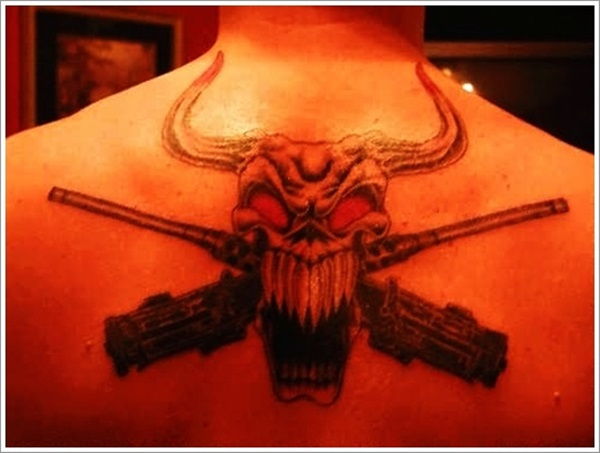 Wonderful Black Ink Bull Infantry Army Tattoo For Men Back Body