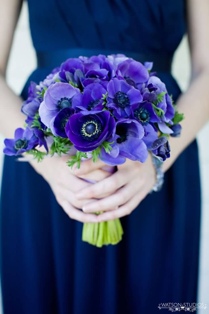 Wonderful Blue Flower Anemone Bouquet For Wedding