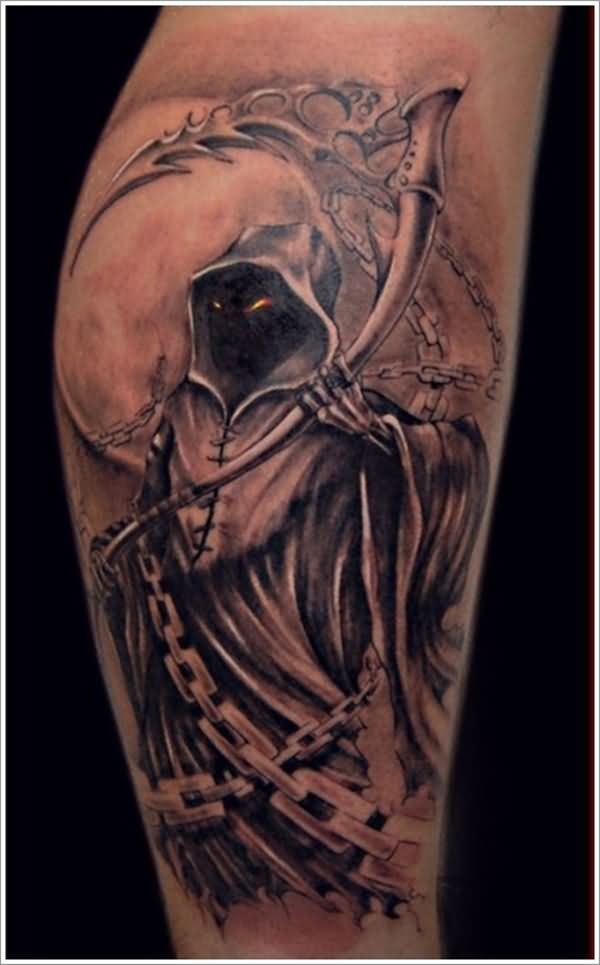 Wonderful Grey Ink 3d Grim Reaper With Chain Tattoo On Calf Leg