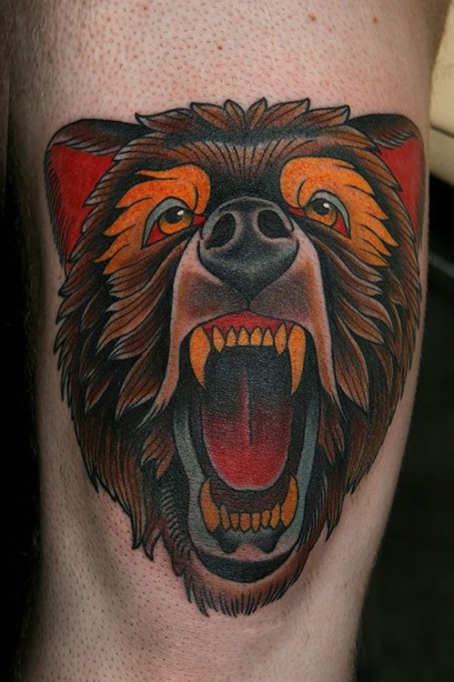Wonderful Grey Ink Big Bear Face Tattoo Design For Men Back Arm