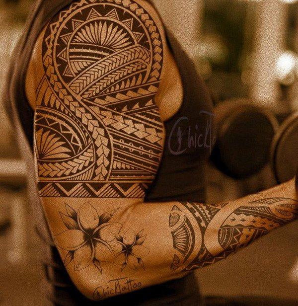 Amazing Custom Samoan Tattoo Half Sleeve With Black Ink For Man Woman Samoan tattoo