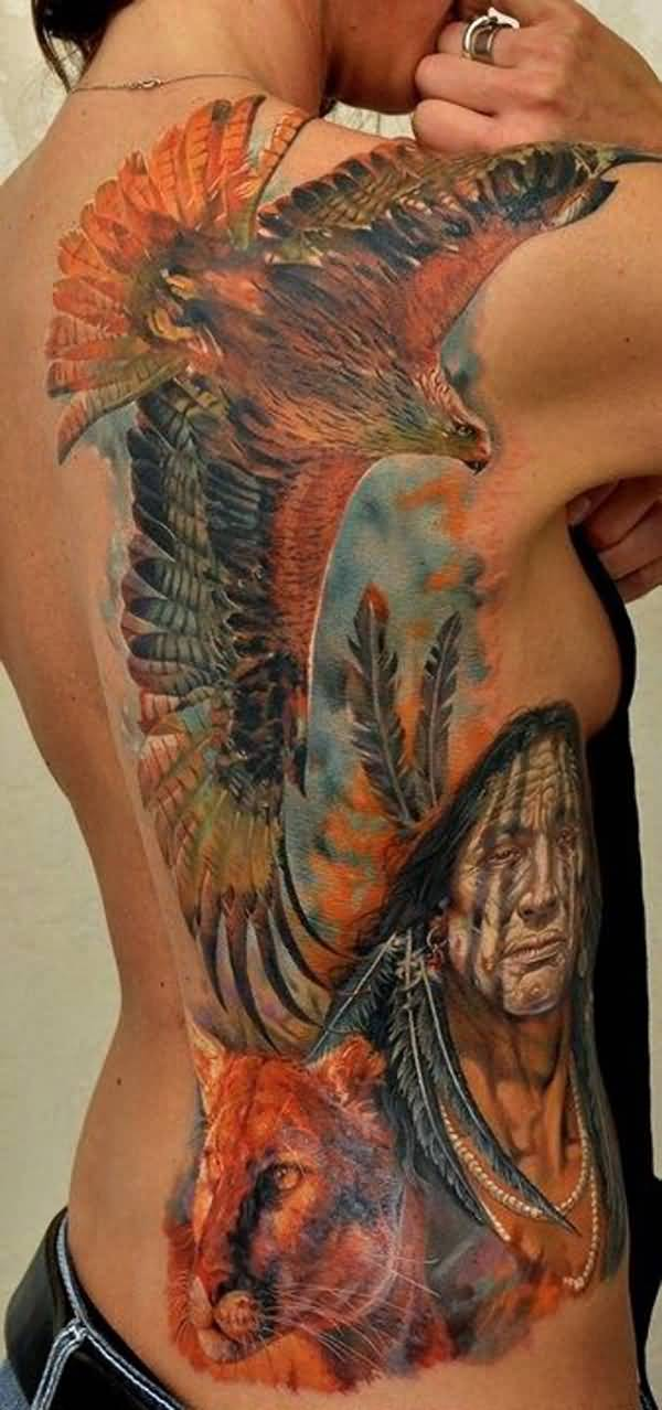 Amazing Native American Tattoo On Back With Colourful Ink For Man & Woman