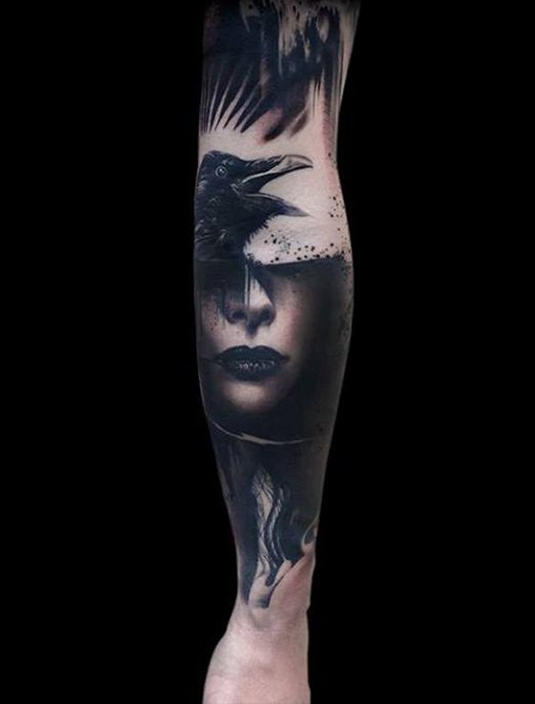 amazing Raven and Girl Tattoo on arm with Black ink For Man And Woman