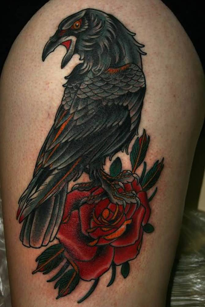 amazing Raven and Rose Tattoo on thigh with Black & red ink For Man And Woman