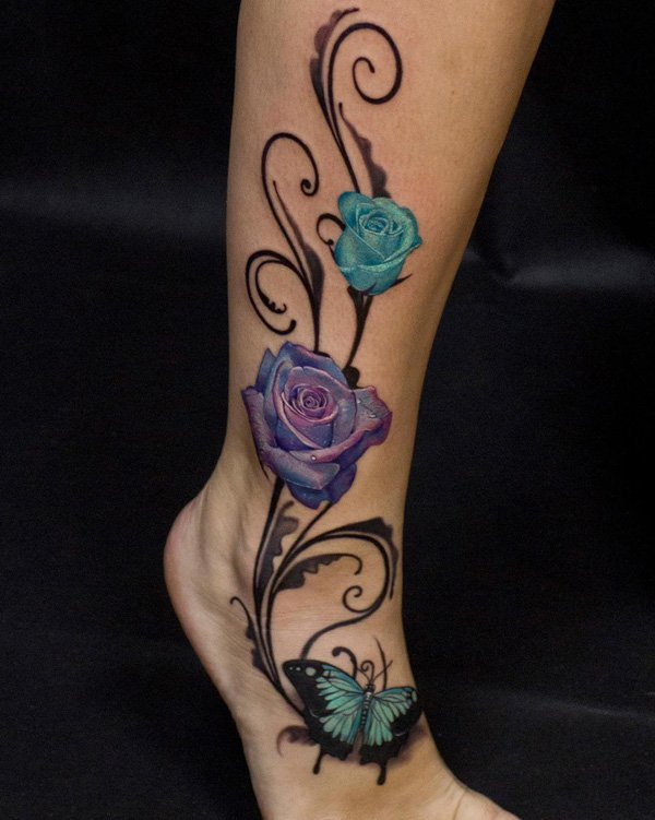 Amazing Rose And Butterfly Calf Tattoo With Colourful Ink For Man Woman