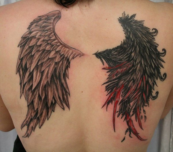 Amazing Wing Tattoo On Back With Black Ink For Man Woman