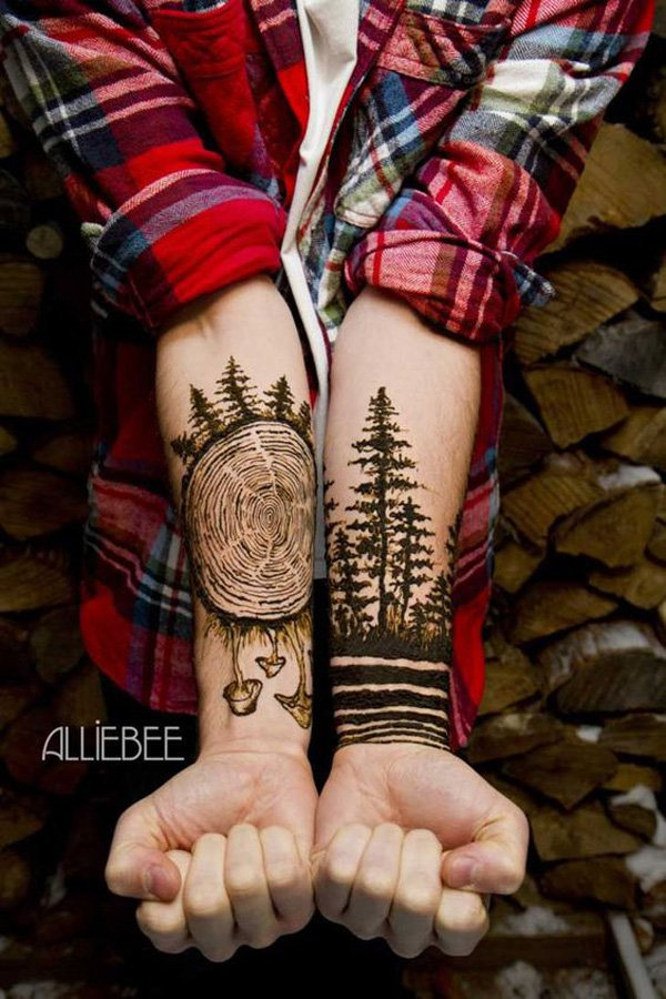 amazing forest tattoo on wrist With Black ink For Man And Woman