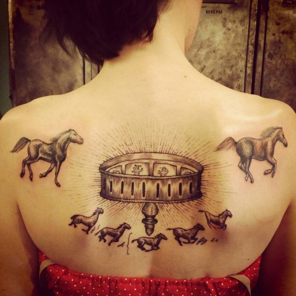 Amazing Horses Tattoo On Back For Women In Black Ink