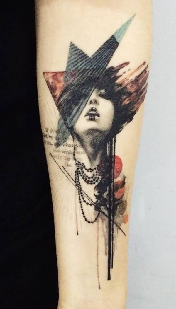 amazing illustration style pottrait sleeve tattoo on wrist With colourful ink For Man And Woma