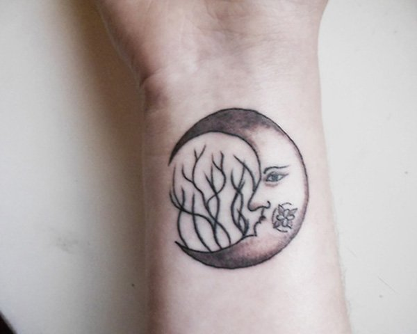 Amazing Moon Tattoo On Wrist With Black Ink For Man Woman