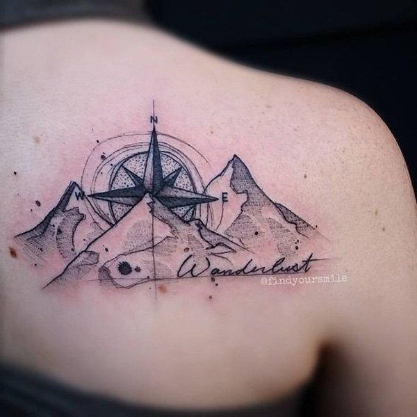 amazing mountain tattoo on back With Black ink For Man And Woman