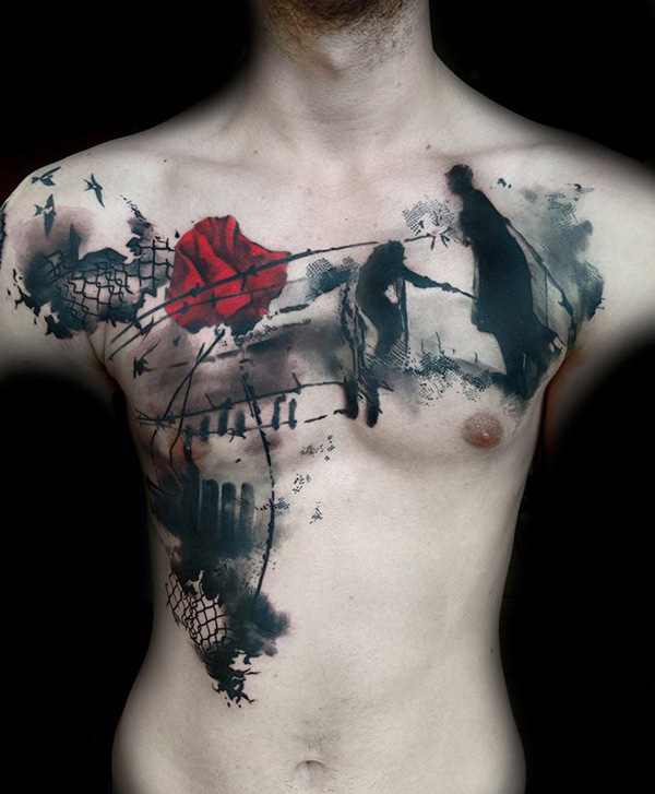 amazing poppy tattoo on chest With colourful ink For Man And Woman