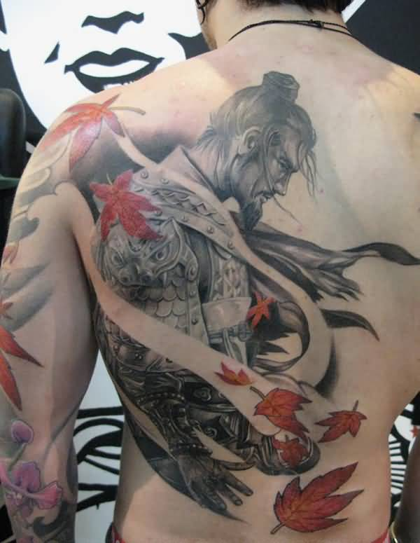 Amazing Warrior Tattoo On Back On Back With Colorful Ink For Women And Man