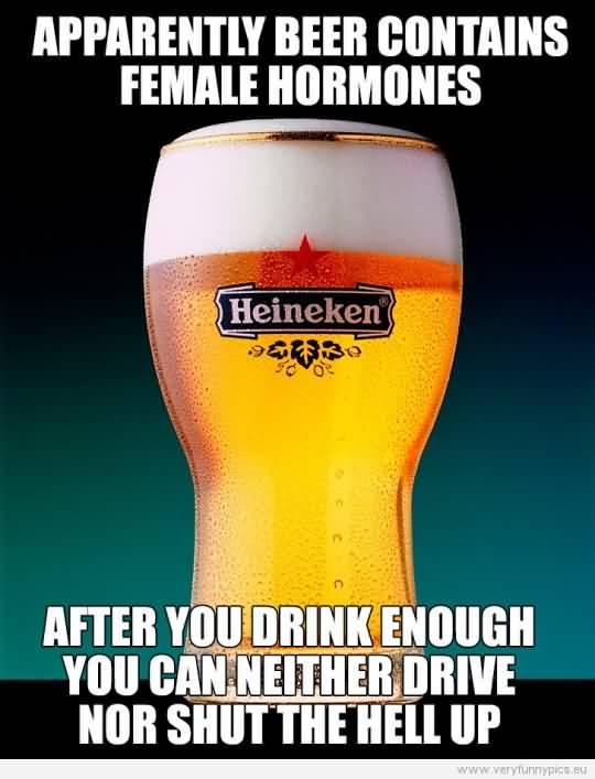 Apparently Beer Contains Female Hormones After You Drink Enough You Can Neither Drive Nor Shut The Hell Up