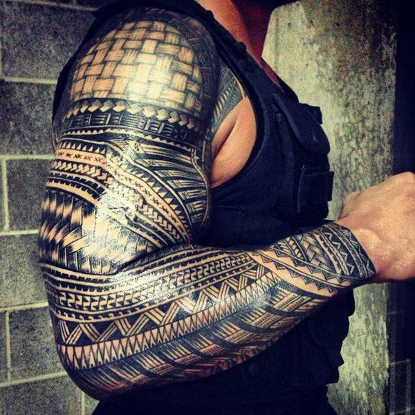 Attractive Samoan Full Sleeve Tattoo With Black Ink For Man Woman