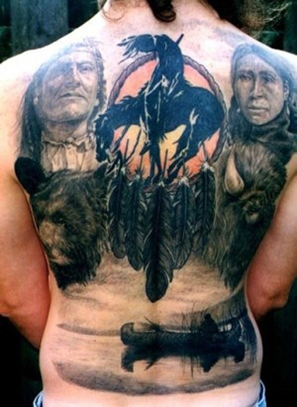 Attractive Native American Full Back Tattoo On Back With Colourful Ink For Man & Woman