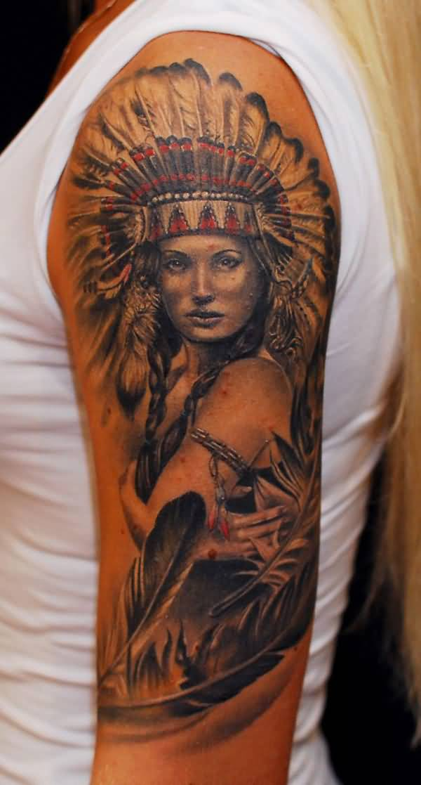 Attractive Native American Tattoo On Half Sleeve With Colourful Ink For Man & Woman