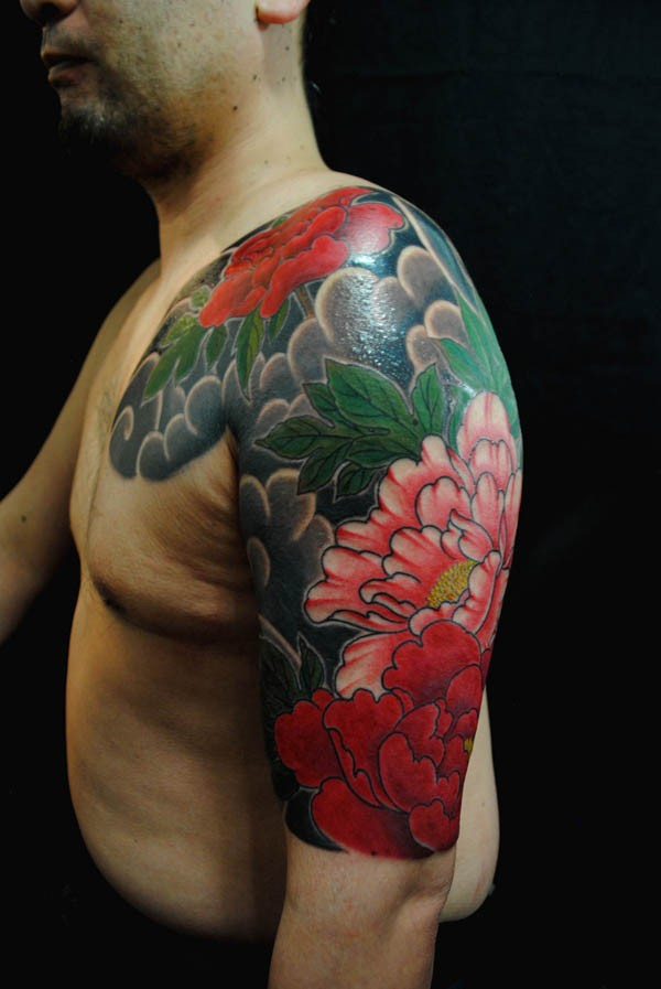 attractive Peony tattoo half sleeve With colourful ink For Man And Woman
