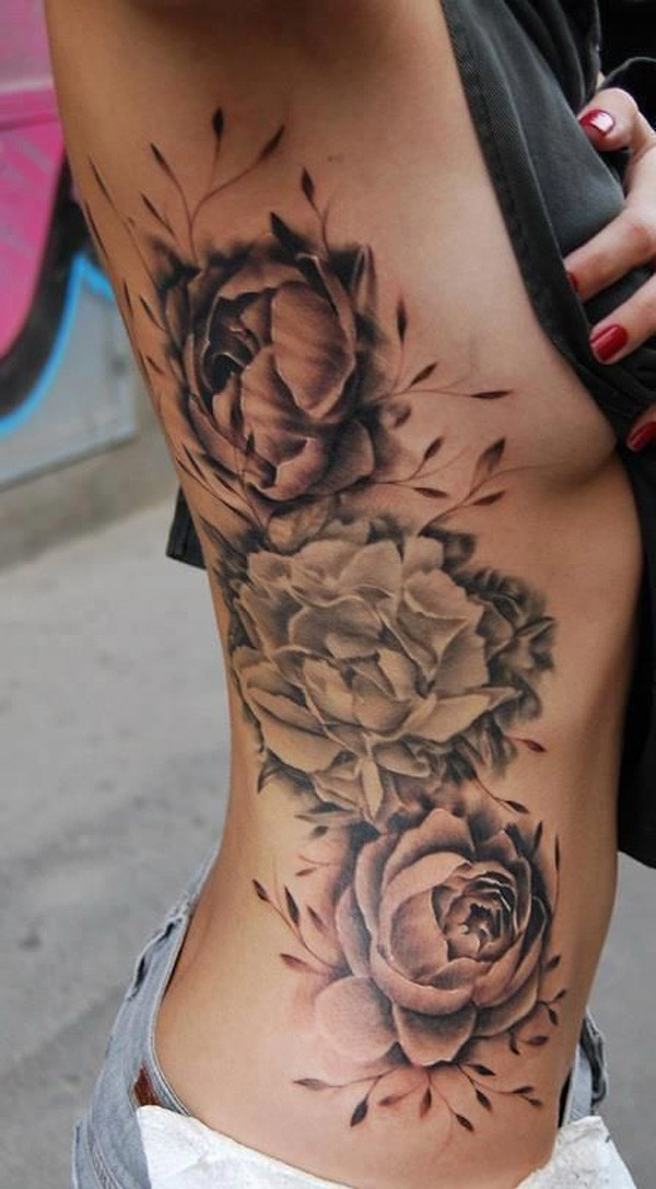 attractive Peony tattoo on side With black ink For Man And Woman