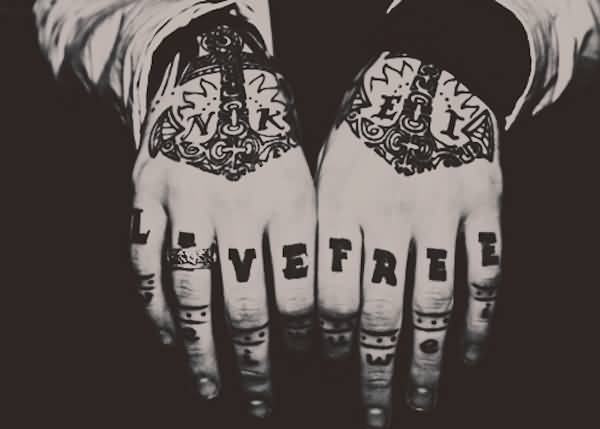 attractive black color ink anchor tattoo on two hands for boys only