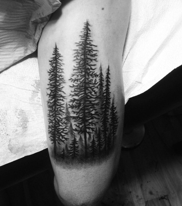 attractive forest arm tattoo on arm With Black ink For Man And Woman