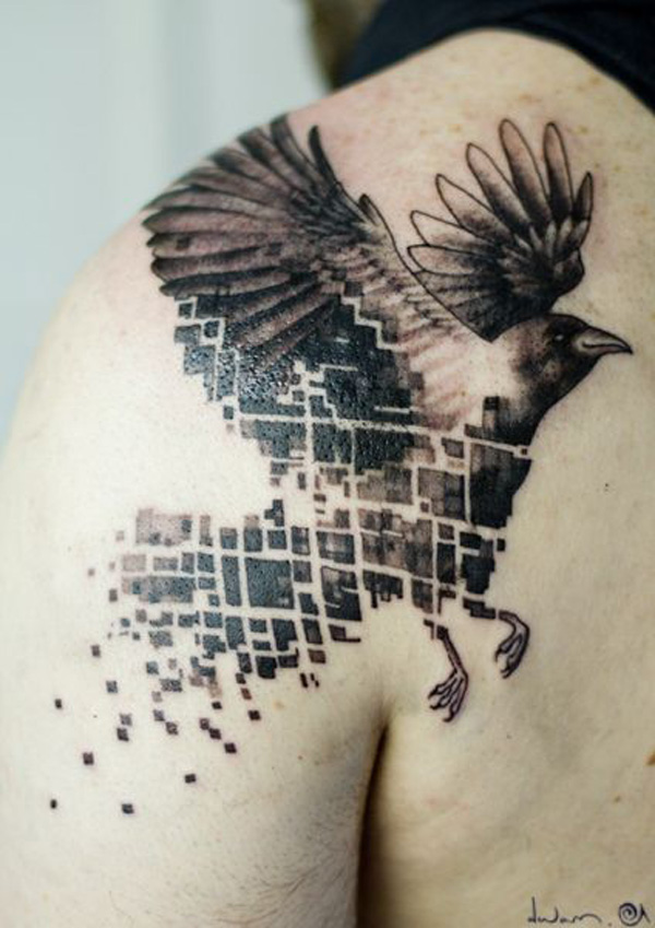 awesome Abstract raven tattoo in dark color with its body painted to plaids and stripes on shoulder Black ink For Man And Woman