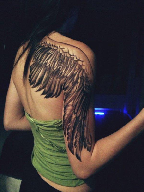 Awesome Angel Wing Tattoo On Shoulder With Black Ink For Man Woman