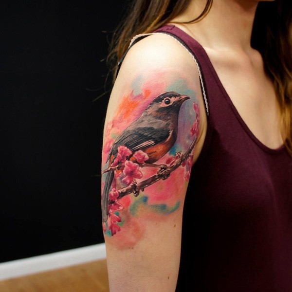 Awesome Bird And Flower Tattoo On Sleeve With Colorful Ink For Man Woman