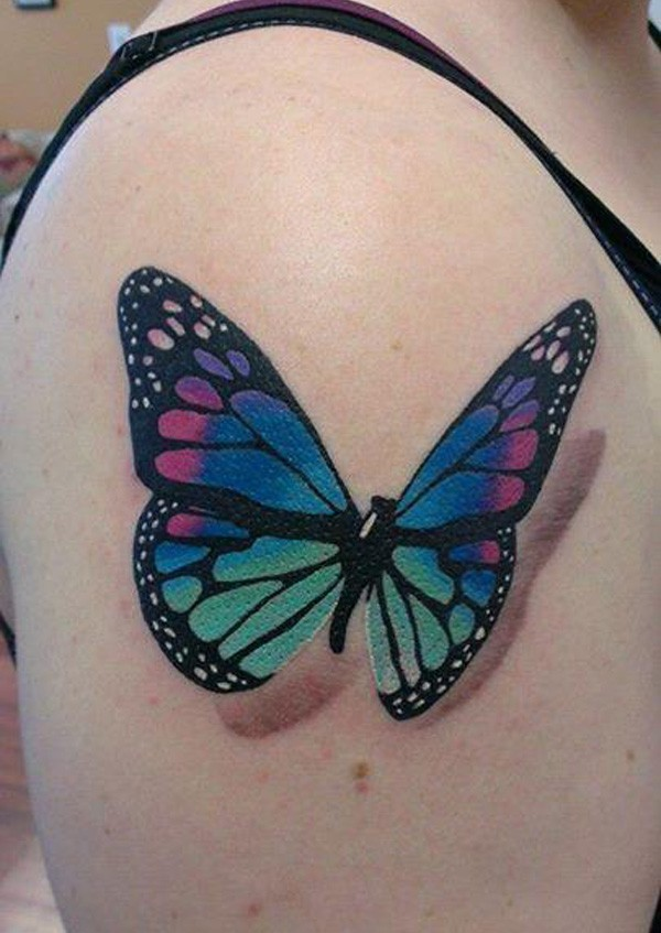 Awesome Colorful Butterfly With Colorful Ink For Man Woman