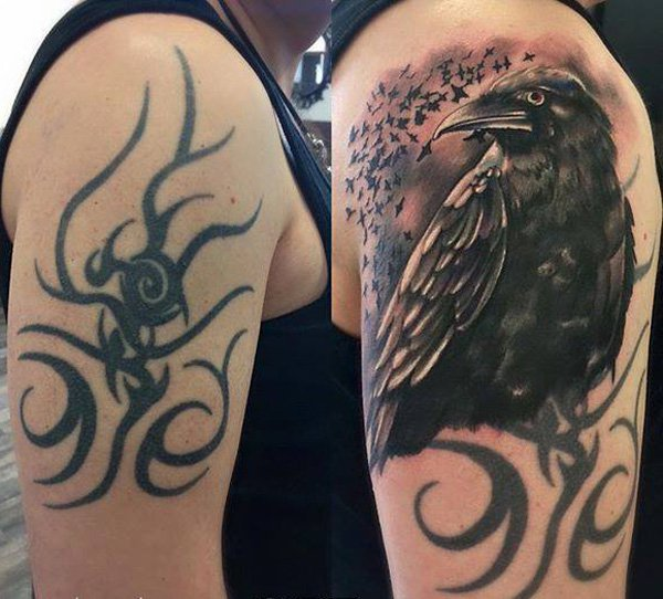 Awesome Crow Cover Up Tattoo With Black Ink For Man And Woman