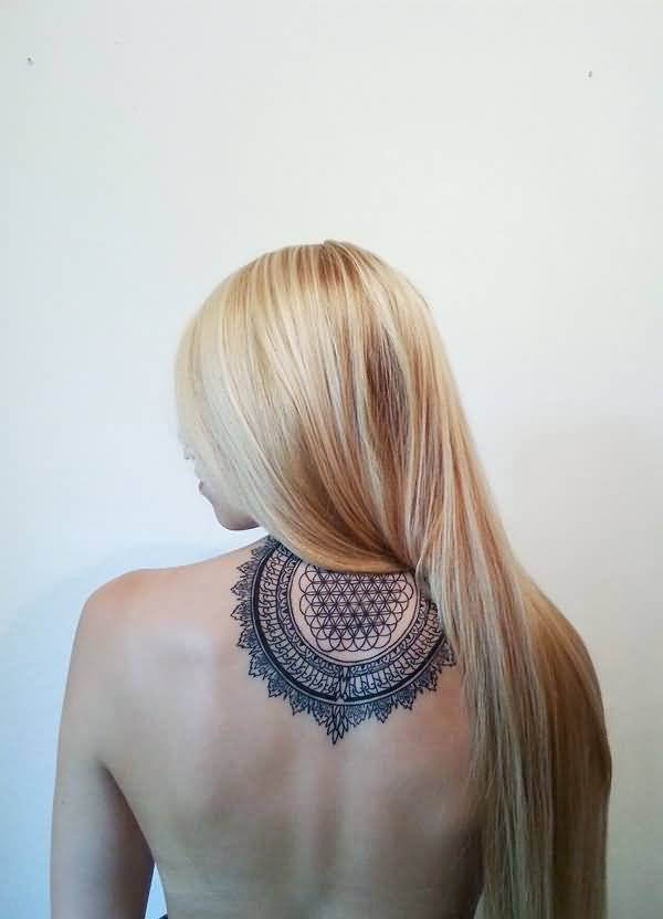 Awesome Mandala Tattoo Onneck With Black Ink For Man Woman