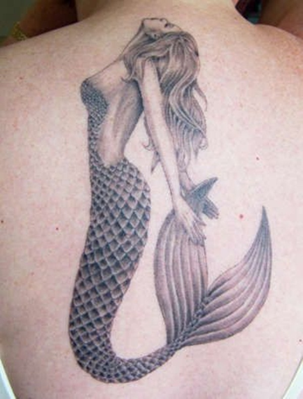 Awesome Mermaid Tattoo On Back With Black Ink For Woman