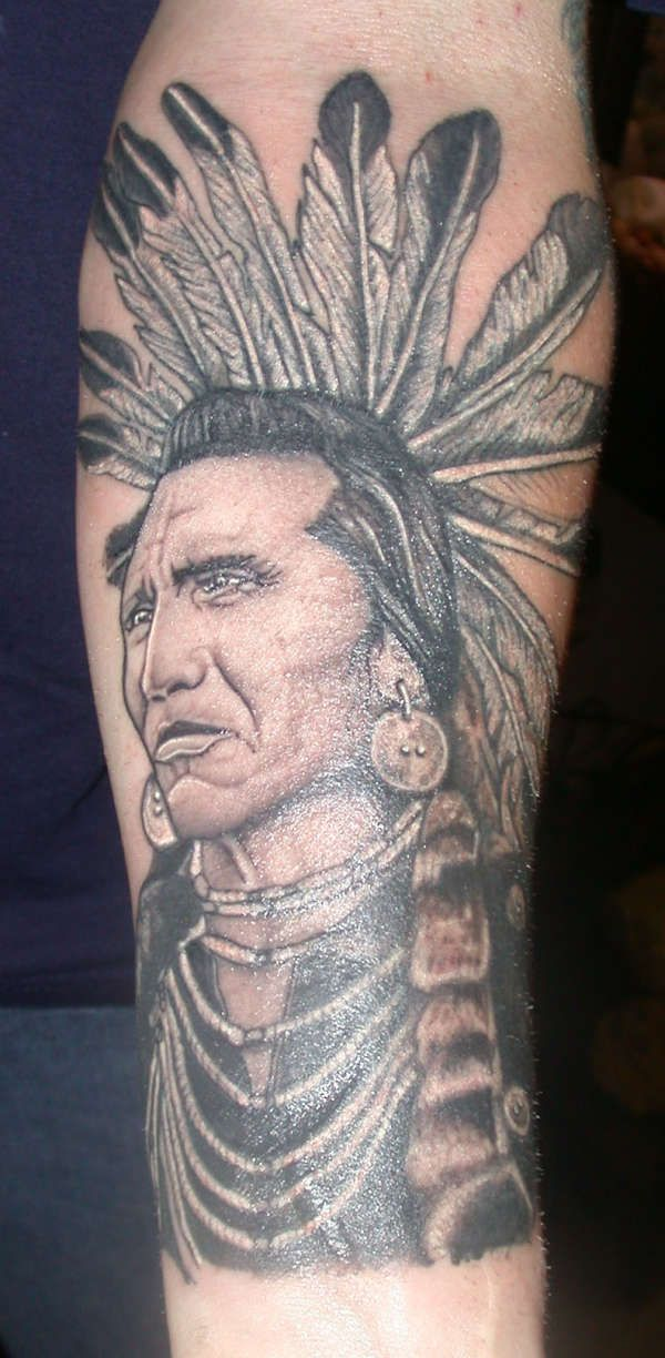 Awesome Native American Tattoo With Black Ink For Man & Woman