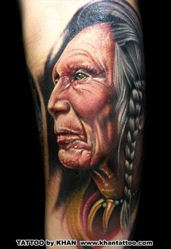 Awesome Native American Tattoo With Colourful Ink For Man & Woman