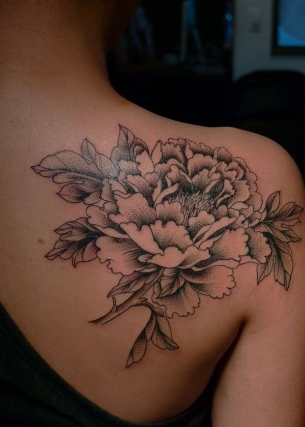 awesome Peony tattoo on back With black ink For Man And Woman