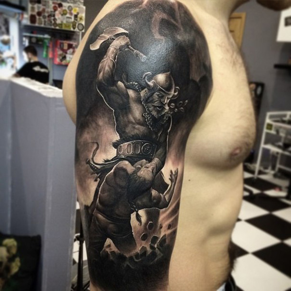 Awesome Warrior Tattoo On Arm With Black Ink For Women And Man