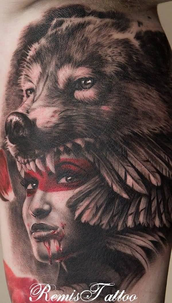 Awesome Wolf Headdress Tattoo Girl With Colourful Ink For Man & Woman