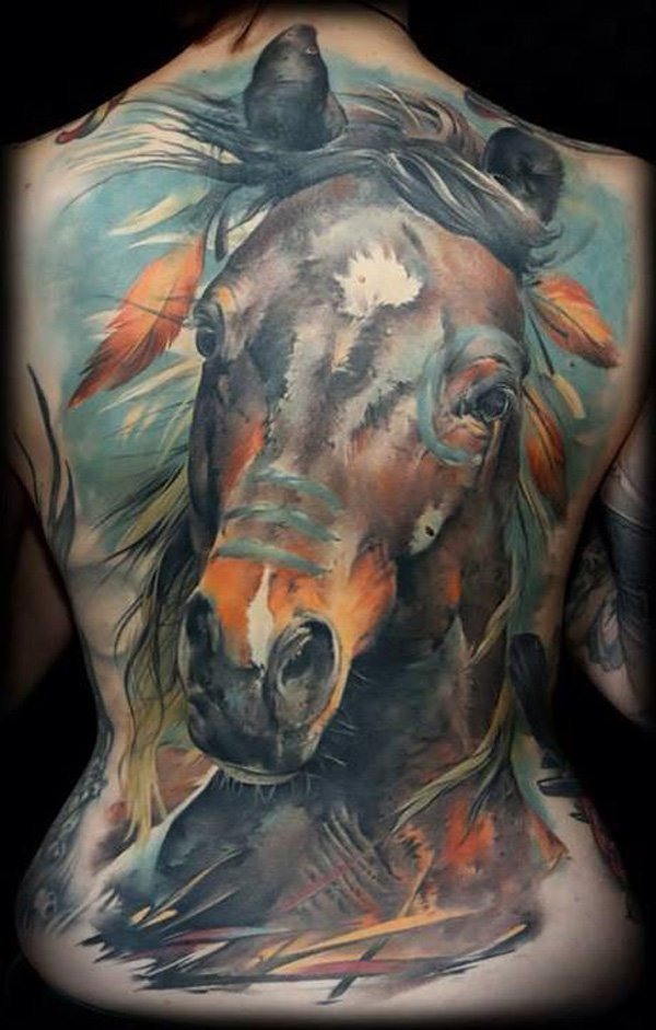 Awesome Colored Horse Full Back Tattoo On Back With Colourful Ink For Women And Man