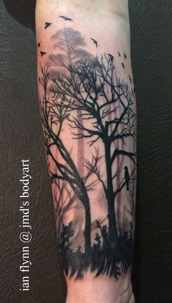 awesome forest sleeve tattoo on wrist With Black ink For Man And Woman