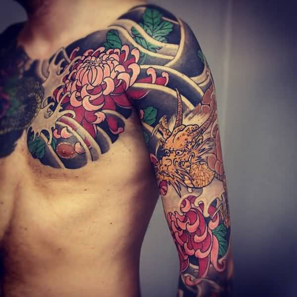 awesome japanese chrysanthemum tattoo on chest With colourful ink For Man And Woma