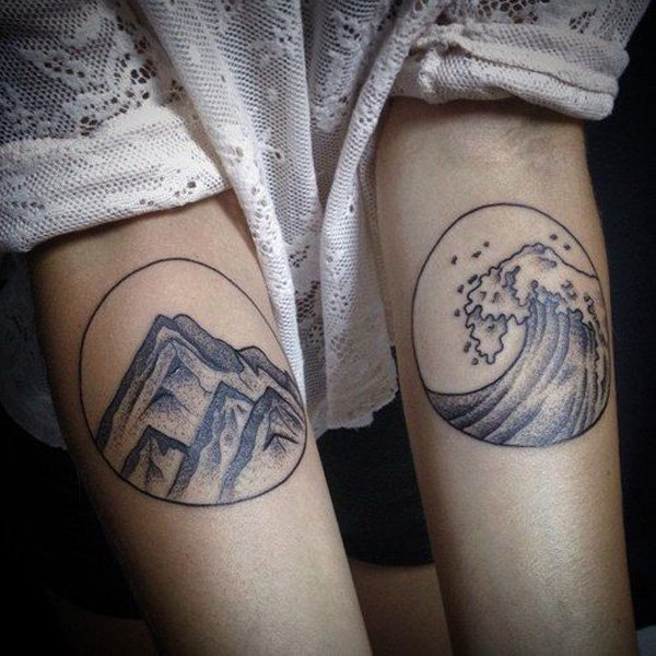 awesome mountains and waves on wrist With Black ink For Man And Woman