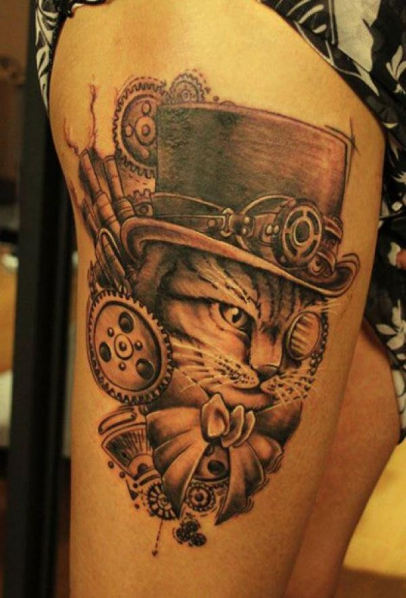 Awesome Steampunk Cat Tattoo On Thigh With Black Ink For Man And Woman