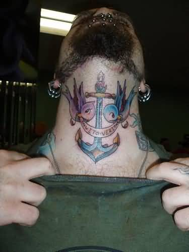 beaiutiful blue and gray color ink anchor tattoo on neck made by expert