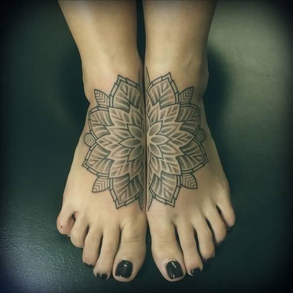 Beautiful Mandala Tattoo On Feet With Black Ink For Man Woman