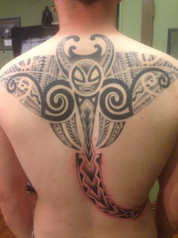 Beautiful Manta Ray Tattoo On Back With Black Ink For Man And Woman