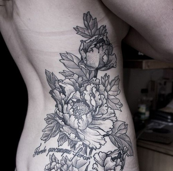 beautiful Peony tattoo on side With black ink For Man And Woman
