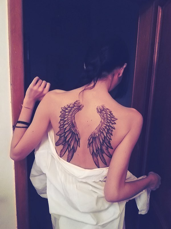 Beautiful Wing Tattoo On Back With Black Ink For Man Woman