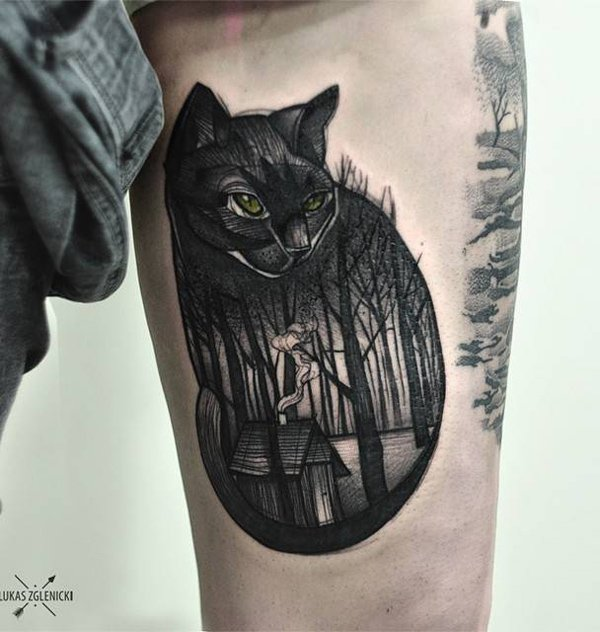 beautiful forest with cat tattoo on arm With Black ink For Man And Woman