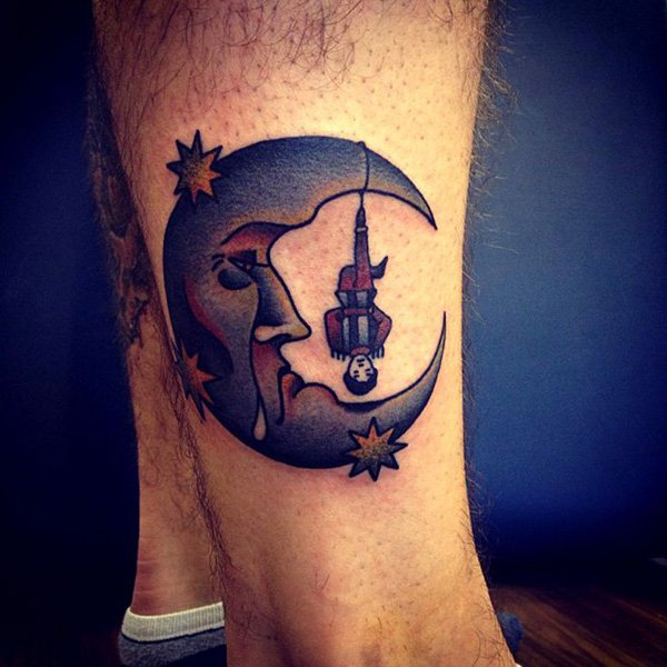 Beautiful Moon Tattoo Leg With Black Ink For Man Woman