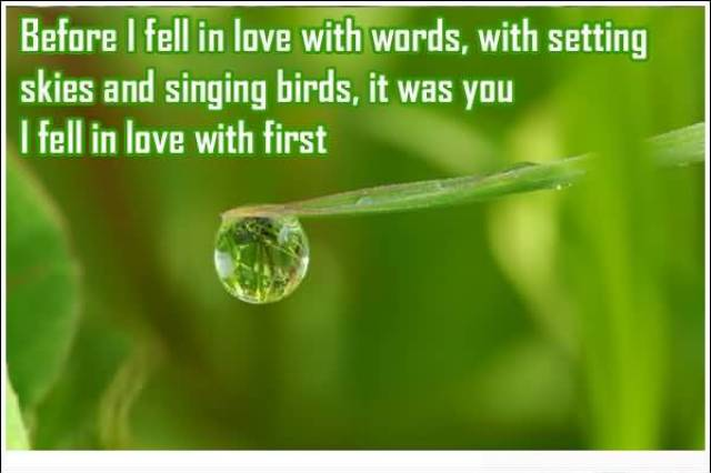 Before I Fell In Love With Words With Setting Skies And Singing Birds It Was You I Fell In Love With First